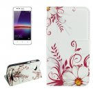 For Huawei Y3 II Buds Pattern Leather Case with Holder, Card Slots & Wallet