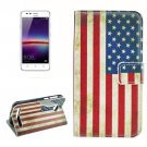 For Huawei Y3 II US Flag Pattern Leather Case with Holder, Card Slots & Wallet