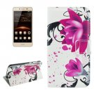 For Huawei Y5 II Lotus Pattern Leather Case with Holder, Card Slots & Wallet