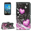 For Ascend Y600 Hearts Pattern Leather Case with Holder, Card Slots & Wallet