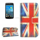 For Ascend Y600 UK Flag Pattern Leather Case with Holder, Card Slots & Wallet