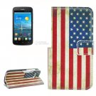For Ascend Y600 US Flag Pattern Leather Case with Holder, Card Slots & Wallet