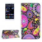 For Huawei Mate 8 Acaleph Pattern Leather Case with Holder, Card Slots & Wallet