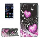 For Huawei Mate 8 Hearts Pattern Leather Case with Holder, Card Slots & Wallet