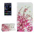 For Huawei Mate 8 Blossom Pattern Leather Case with Holder, Card Slots & Wallet