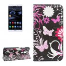 For Huawei Mate 8 Butterfly Pattern Leather Case with Holder, Card Slots & Wallet