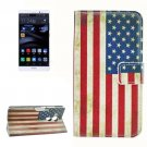 For Huawei Mate 8 US Flag Pattern Leather Case with Holder, Card Slots & Wallet