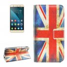For Honor 4X UK Flag Pattern Leather Case with Holder, Card Slots & Wallet