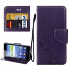 For Huawei Y6 II Purple Butterflies Leather Case with Holder, Card Slots & Wallet