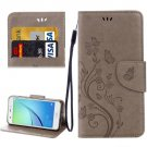 For Huawei NovaI Grey Butterflies Leather Case with Holder, Card Slots & Wallet