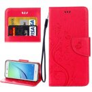For Huawei NovaI Red Butterflies Leather Case with Holder, Card Slots & Wallet