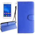 For Honor 4A & Y6 Blue Litchi Leather Case with Holder, Card Slots & Wallet