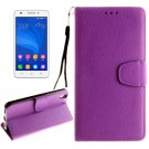 For Honor 4A & Y6 Purple Litchi Leather Case with Holder, Card Slots & Wallet