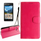 For Ascend Y530 Magenta Litchi Leather Case with Holder, Card Slots & Wallet