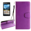 For Ascend Y530 Purple Litchi Leather Case with Holder, Card Slots & Wallet