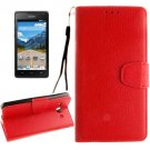 For Ascend Y530 Red Litchi Leather Case with Holder, Card Slots & Wallet