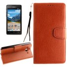 For Ascend Y530 Brown Litchi Leather Case with Holder, Card Slots & Wallet