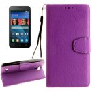 For Huawei Y5 Purple Litchi Leather Case with Holder, Card Slots & Wallet