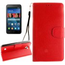 For Huawei Y5 Red Litchi Leather Case with Holder, Card Slots & Wallet