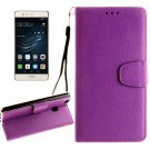 For Huawei P9 Lite Purple Litchi Leather Case with Holder, Card Slots & Wallet