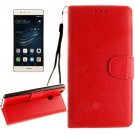 For Huawei P9 Lite Red Litchi Leather Case with Holder, Card Slots & Wallet