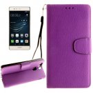 For Huawei P9 Purple Litchi Leather Case with Holder, Card Slots & Wallet