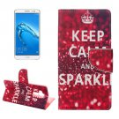 For nova plus Sparkle Pattern Leather Case with Holder, Card Slots & Wallet