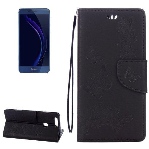 For Honor 8 Black Butterflies Leather Case with Holder, Card Slots & Wallet