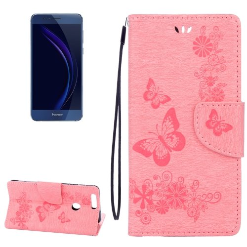For Honor 8 Pink Butterflies Leather Case with Holder, Card Slots & Wallet