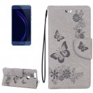 For Honor 8 Grey Butterflies Leather Case with Holder, Card Slots & Wallet
