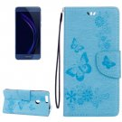 For Honor 8 Blue Butterflies Leather Case with Holder, Card Slots & Wallet