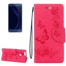 For Honor 8 Magenta Butterflies Leather Case with Holder, Card Slots & Wallet