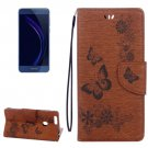 For Honor 8 Brown Butterflies Leather Case with Holder, Card Slots & Wallet
