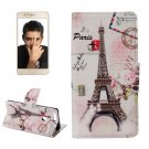 For Honor 8 Eiffel Pattern Leather Case with Holder, Card Slots & Wallet