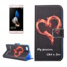 For Huawei P8 Lite Heart Pattern Leather Case with Holder, Card Slots & Wallet
