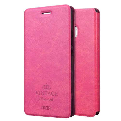 For Huawei P9 Lite MOFI VINTAGE Magenta Leather Case with Holder, Card Slots