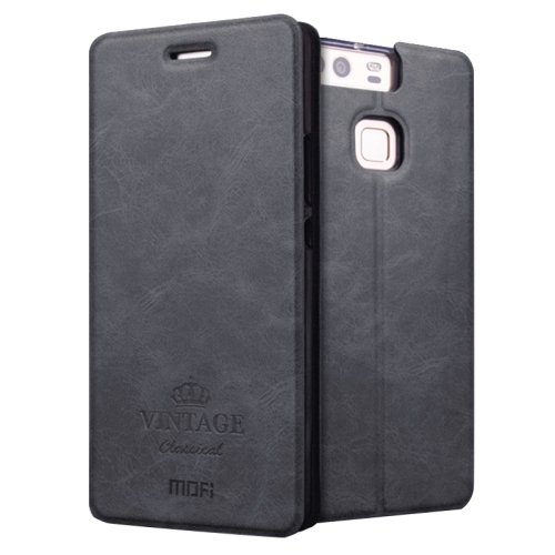 For Huawei P9 MOFI VINTAGE Black Smart Leather Case with Holder & Card Slots