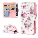For Huawei P8 Lite Rose Pattern Leather Case with 9 Card Slots, Wallet & Holder