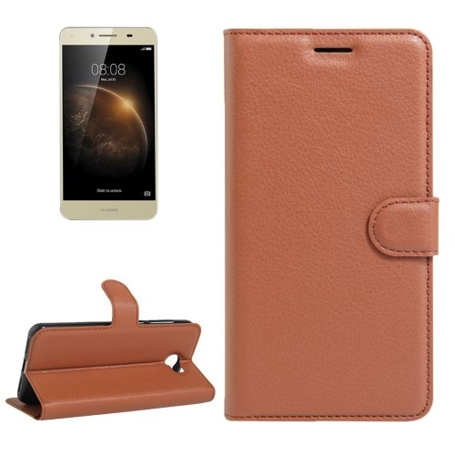 For Y6 Elite & Y5 II Brown Litchi Leather Case with Card Slots, Wallet & Holder