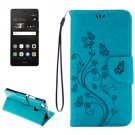 For P9 Lite Butterflies Blue Leather Case with Holder, Card Slots & Wallet