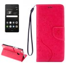 For P9 Lite Butterflies Magenta Leather Case with Holder, Card Slots & Wallet