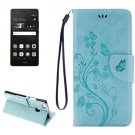 For P9 Lite Butterflies Baby Blue Leather Case with Holder, Card Slots & Wallet