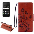For P9 Lite Butterflies Brown Leather Case with Holder, Card Slots & Wallet