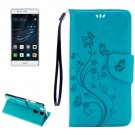 For Huawei P9 Butterflies Blue Leather Case with Holder, Card Slots & Wallet