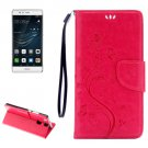 For Huawei P9 Butterflies Magenta Leather Case with Holder, Card Slots & Wallet