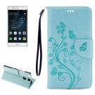 For Huawei P9 Butterflies Baby Blue Leather Case with Holder, Card Slots & Wallet