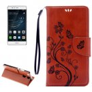 For Huawei P9 Butterflies Brown Leather Case with Holder, Card Slots & Wallet