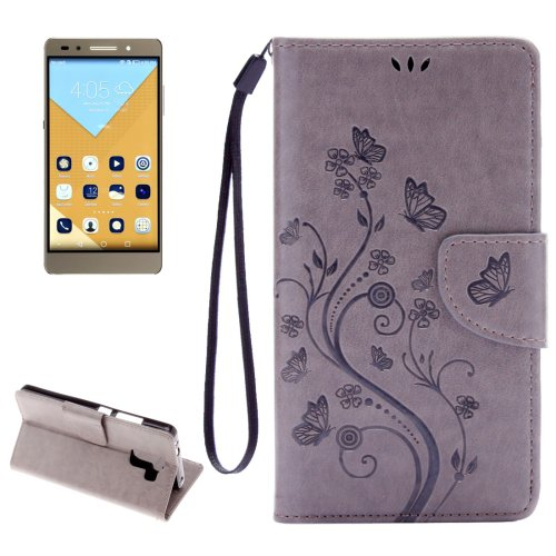 For Honor 7 Butterflies Grey Leather Case with Holder, Card Slots & Wallet