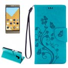 For Honor 7 Butterflies Blue Leather Case with Holder, Card Slots & Wallet