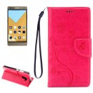 For Honor 7 Butterflies Magenta Leather Case with Holder, Card Slots & Wallet